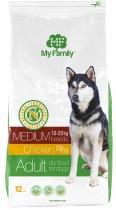 Сухой корм с курицей для взрослых собак средних пород My Family™ Medium Adult, 12 кг