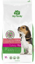 Сухой корм с индейкой для щенков, беременных и лактирующих собак My Family™ Babydog, 12 кг