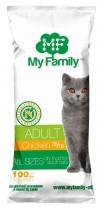 Сухой корм с курицей для взрослых котов всех пород My Family™ Adult Cat, 10 шт по 100 гр
