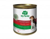 Мясные кусочки с телятиной и печенью для взрослых собак и щенков, My Family™, 250 гр