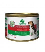 Мясные кусочки с телятиной и печенью для взрослых собак и щенков, My Family™, 525 гр