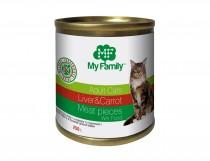 Мясные кусочки с печенью и морковью для взрослых котов, My Family™, 250 гр