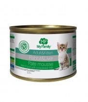 Паштет-мусс с кроликом и печенью для взрослых котов и котят, My Family™, 525 гр
