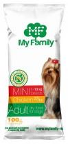 Сухой корм с курицей для взрослых собак маленьких пород My Family™ Mini Adult, 10 шт по 100 гр