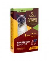 Ошейник от блох и клещей Palladium Golden Defence для кошек (35 см, синий)