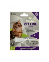 Капли на холку от блох, клещей и гельминтов Pet Line the ONE для кошек весом до 4 кг