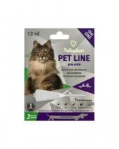 Капли на холку от блох, клещей и гельминтов Pet Line the ONE для кошек весом 4-8 кг