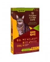 Капли на холку от блох, клещей и гельминтов Palladium Extra Safe для кошек весом до 4 кг (4 пипетки)