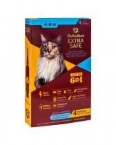 Капли на холку от блох, клещей и гельминтов Palladium Extra Safe для кошек весом 4-8 кг (4 пипетки)