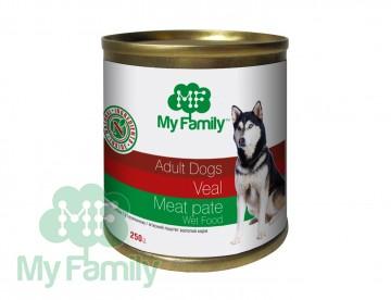 My Family Мясной паштет с телятиной для взрослых собак, My Family™, 250 гр