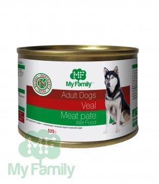 My Family Мясной паштет с телятиной для взрослых собак, My Family™, 525 гр