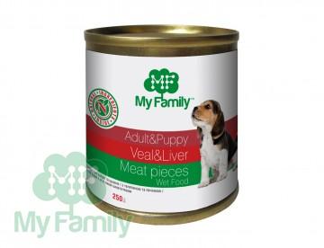 My Family Мясные кусочки с телятиной и печенью для взрослых собак и щенков, My Family™, 250 гр