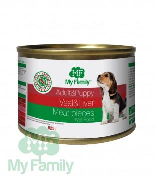 My Family Мясные кусочки с телятиной и печенью для взрослых собак и щенков, My Family™, 525 гр
