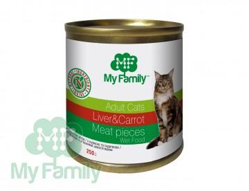 My Family Мясные кусочки с печенью и морковью для взрослых котов, My Family™, 250 гр