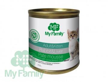 My Family Паштет-мусс с кроликом и печенью для взрослых котов и котят, My Family™, 250 гр