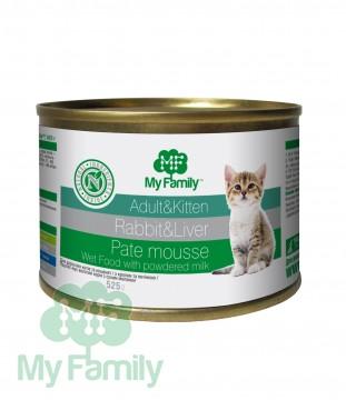 My Family Паштет-мусс с кроликом и печенью для взрослых котов и котят, My Family™, 525 гр