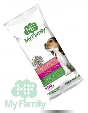 My Family Сухой корм с индейкой для щенков, беременных и лактирующих собак My Family™ Babydog, 10 шт по 100 гр