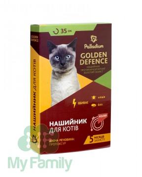 Ошейник от паразитов Palladium Golden Defence для кошек красный