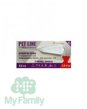 Капли на холку Pet Line №1 от блох и клещей для собак 1,5-4 кг