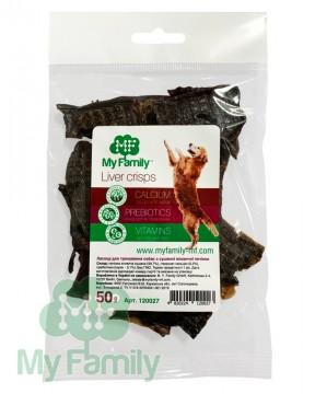 Чипсы из сушёной говяжьей печени для тренировки собак (50 г)